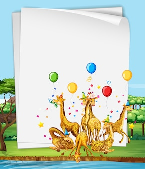 Papieren sjabloon met giraffen op een feestje in het bos