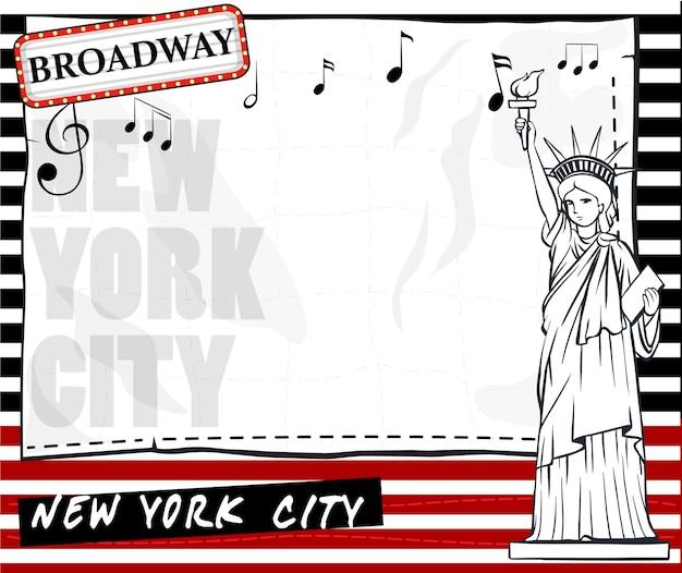 Papieren sjabloon met new york city achtergrond