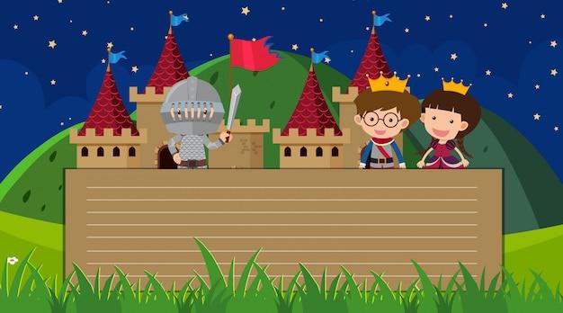 Papieren sjabloon met prins en prinses in het kasteel