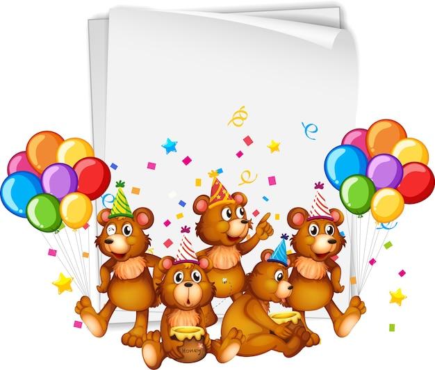 Papieren sjabloon met schattige dieren in feestthema op witte achtergrond