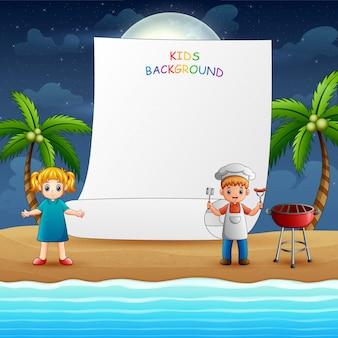 Papieren sjabloonontwerp met gelukkige kinderen koken