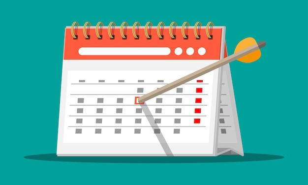 Papieren spiraal wandkalender en boog pijl. platte kalenderpictogram. schema, afspraak, organisator, urenstaat, belangrijke datum. vectorillustratie in vlakke stijl