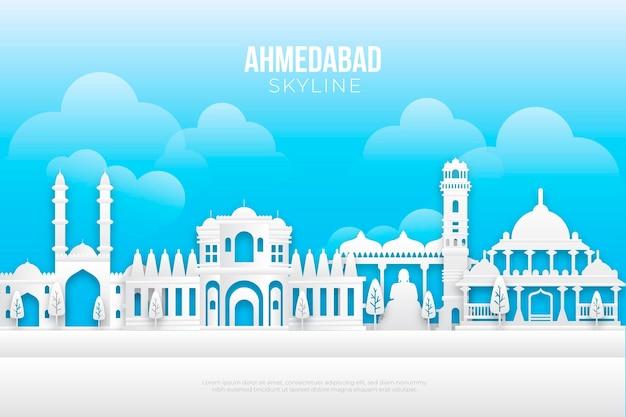 Papieren stijl ahmedabad skyline