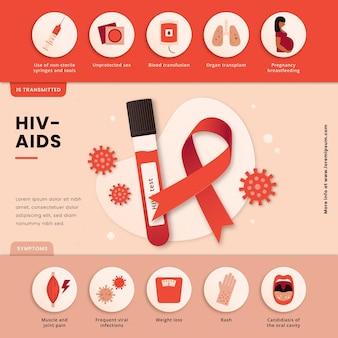Papieren stijl hiv infographic sjabloon