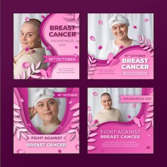 Papieren stijl internationale dag tegen borstkanker instagram posts collectie