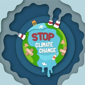 Papieren stijl klimaatverandering concept illustratie