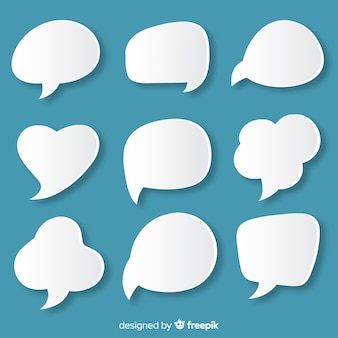 Papieren stijl platte tekstballon diversiteit