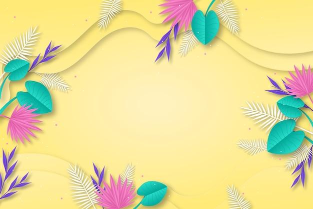 Papieren stijl tropische bladeren zomer achtergrond