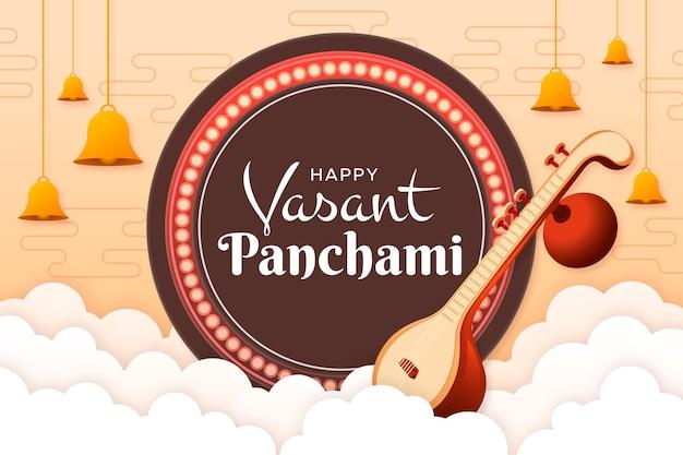 Papieren stijl vrolijke vasant panchami