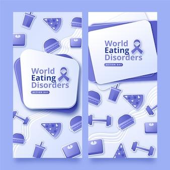 Papieren stijl wereld eetstoornissen actiedag banners instellen