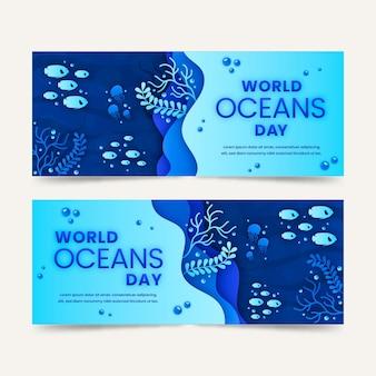 Papieren stijl wereld oceanen dag banners instellen