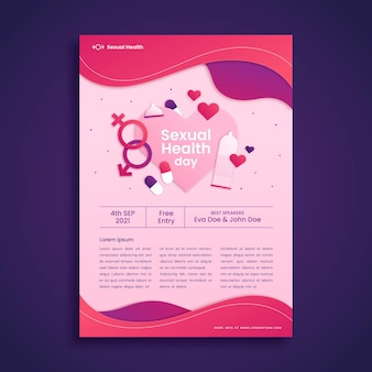 Papieren stijl wereld seksuele gezondheid dag verticale flyer sjabloon