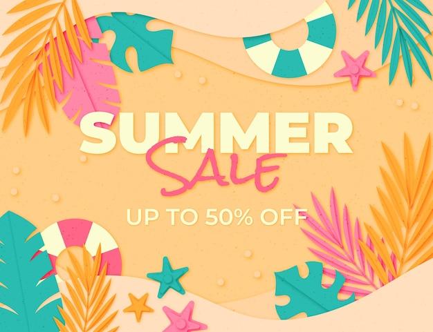 Papieren stijl zomer verkoop illustratie
