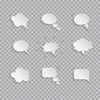 Papieren tekstballonnen geïsoleerd op transparante achtergrond.