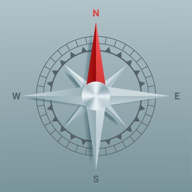 Papieren uitgesneden kompas met schaduw en origami-stijl