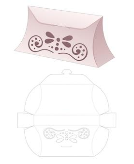 Papieren verpakking portemonnee met gestencilde mandala gestanste sjabloon