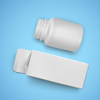 Papieren verpakkingen en plastic potje voor medicijnen, witte kleur, sjablonen van pakketten voor medicijnen, illustratie