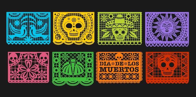 Papieren vlaggen, mexicaanse dag van de doden papel picado gors. mexico dia de los muertos of halloween-vakantieslinger met uitgesneden ornamenten van skeletschedel, sombrero, goudsbloembloem en vogel