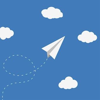 Papieren vliegtuig en wolken. origami vliegtuig, handgemaakt speelgoed. vectorachtergrond.