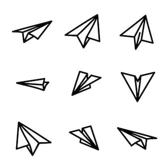 Papieren vliegtuig icon set