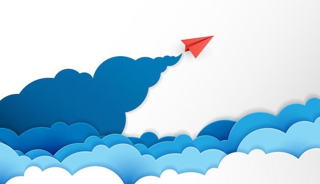 Papieren vliegtuig is competitie naar bestemming tot aan de wolken en de lucht gaat naar het succesdoel