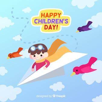 Papieren vliegtuig kinderen dag achtergrond