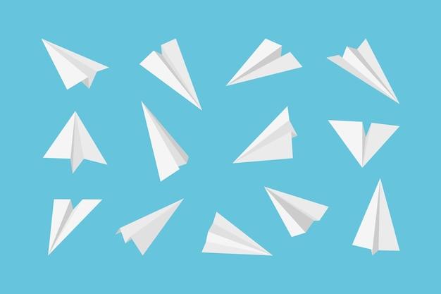 Papieren vliegtuig. raketten straalvliegtuigen luchtvervoer van papieren 3d-origami-stijlcollectie.