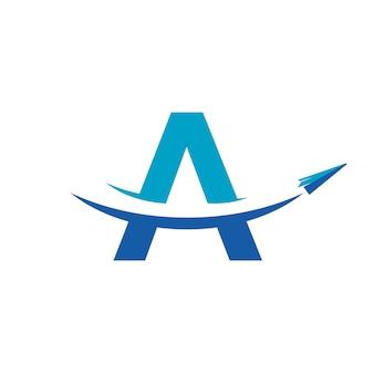 Papieren vliegtuig reizen logo ontwerp inspration