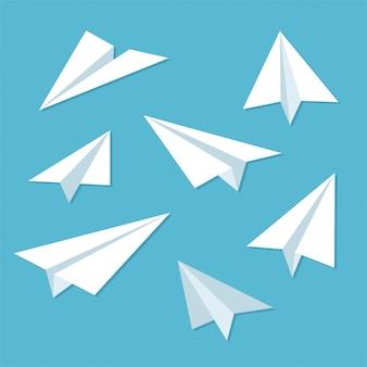 Papieren vliegtuig set