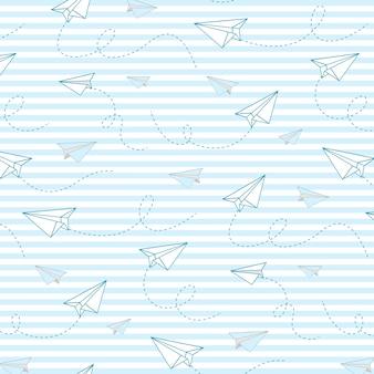 Papieren vliegtuig vector naadloze patroon