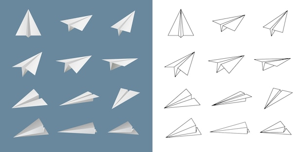 Papieren vliegtuig vector set.