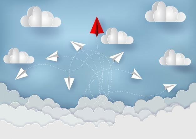 Papieren vliegtuigen concurreren met bestemmingen tot in de hemel