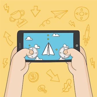 Papieren vliegtuigen spelen op mobiele telefoon