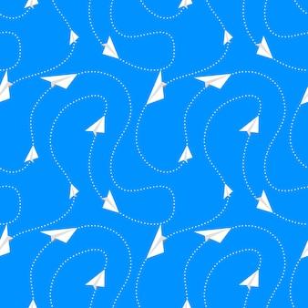 Papieren vliegtuigen vliegen op routes, naadloos patroon