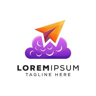 Papieren vliegtuigje met cloud concept logo of logo
