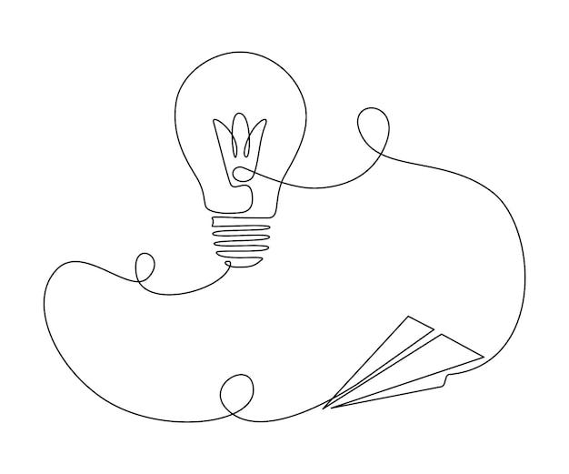 Papieren vliegtuigje verbonden met gloeilamp in één doorlopende lijntekening. vliegtuig en lamp in kaderstijl. bewerkbare streek. vector illustratie