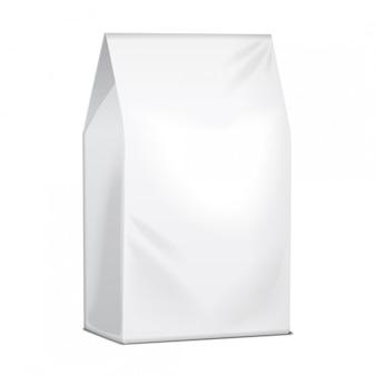 Papieren voedselzakpakket met koffie, zout, suiker, peper, kruiden of snacks. sjabloon voor productpakket