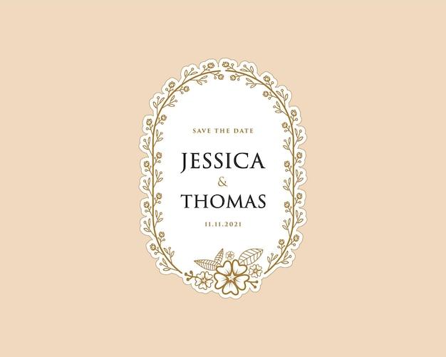 Papieren vrouwelijke botanische krans logo sticker voor boeket spa schoonheidssalon boutique trouwkaart