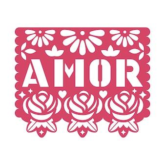 Papieren wenskaart met uitgesneden bloemen en tekst amor.