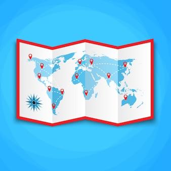 Papieren wereldkaart met locatiepictogrammen.
