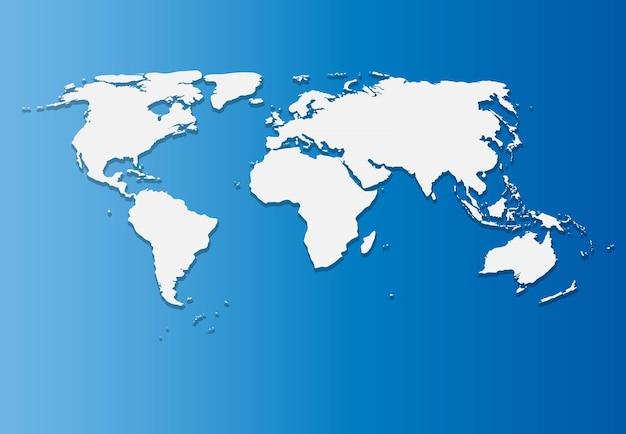 Papieren wereldkaart op blauwe achtergrond vectorillustratie