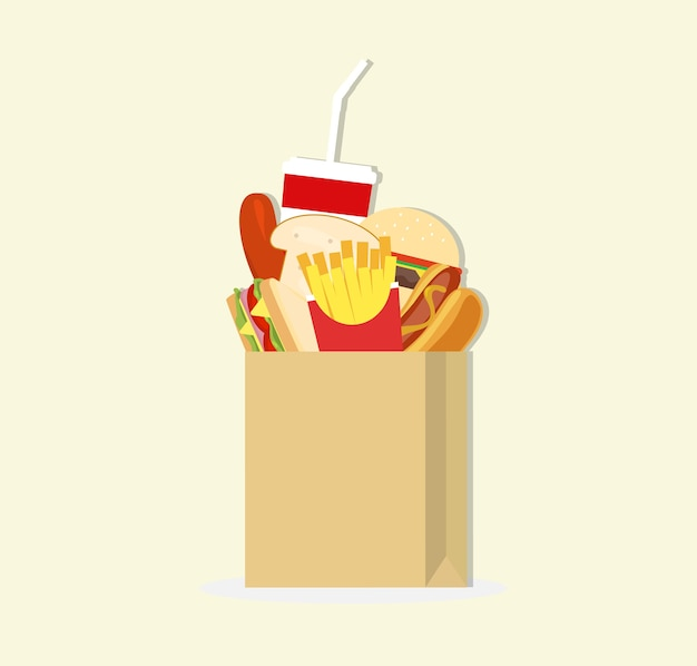 Papieren zak en fast food