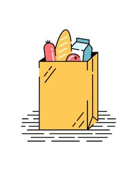 Papieren zak met eten. groenten, brood, melk, salami. boodschappen doen. illustratie in vlakke stijl.