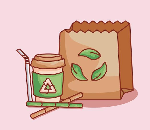Papieren zak met fles en bamboe rietjes