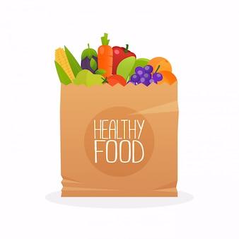 Papieren zak met gezond voedsel. gezonde biologische verse en natuurlijke voeding. kruidenier levering concept. platte ontwerp vectorillustratie.