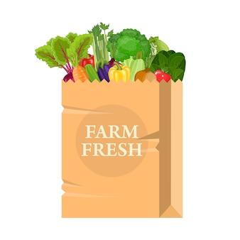 Papieren zak met gezond voedsel.