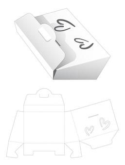 Papieren zak met hartvormig venster gestanst sjabloon