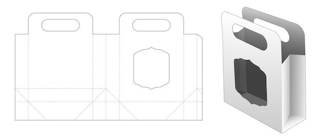 Papieren zak met venster gestanst sjabloonontwerp