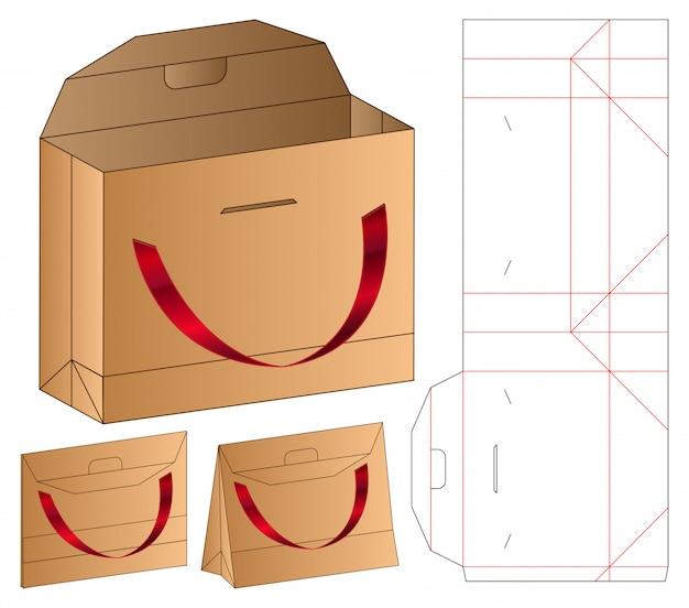 Papieren zak verpakking gestanst sjabloon 3d