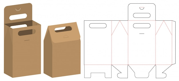 Papieren zak verpakking gestanst sjabloonontwerp
